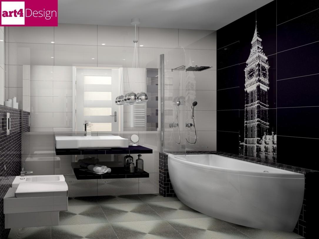 łazienka w czerni i bieli projektowanie bbielsko